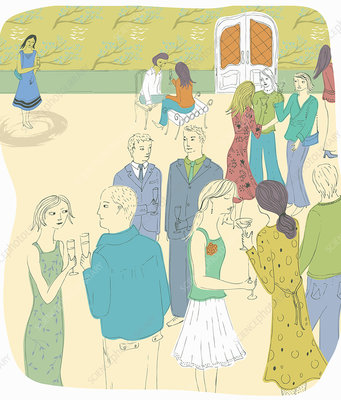 Shy woman on own at party, illustration