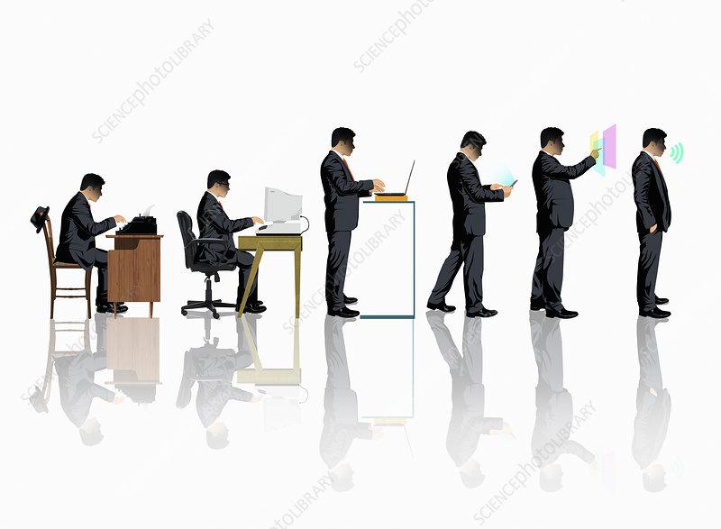 Evolution of business communication technology, illustration