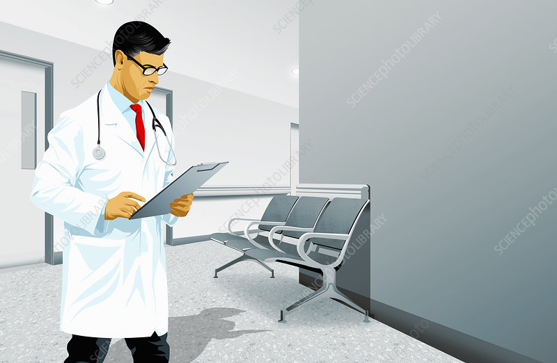 Doctor reading medical records, illustration