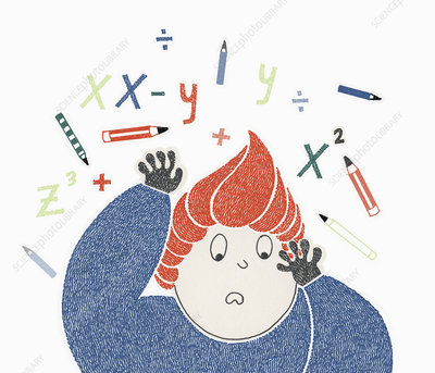 Boy struggling with mathematics, illustration