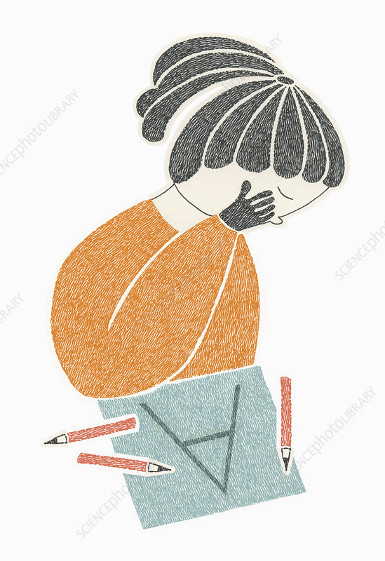 Girl worried about grades, illustration