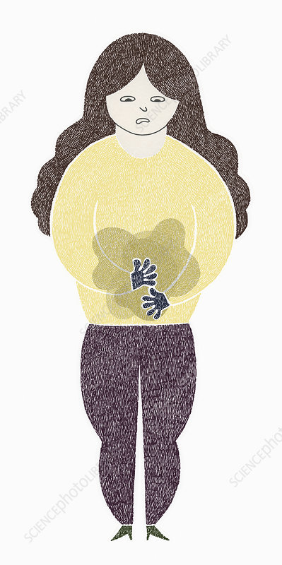 Woman worrying about stomach ache, illustration