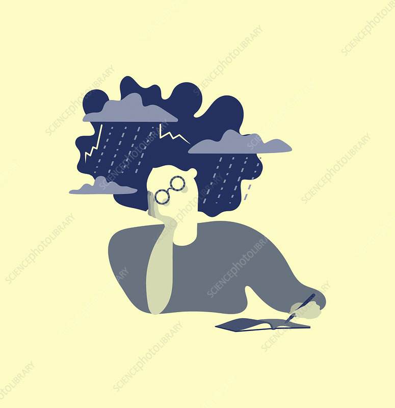 Woman with storm around head, illustration