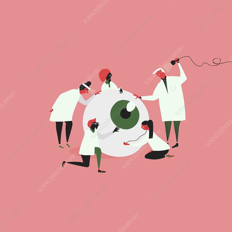 Opticians examining large eyeball, illustration