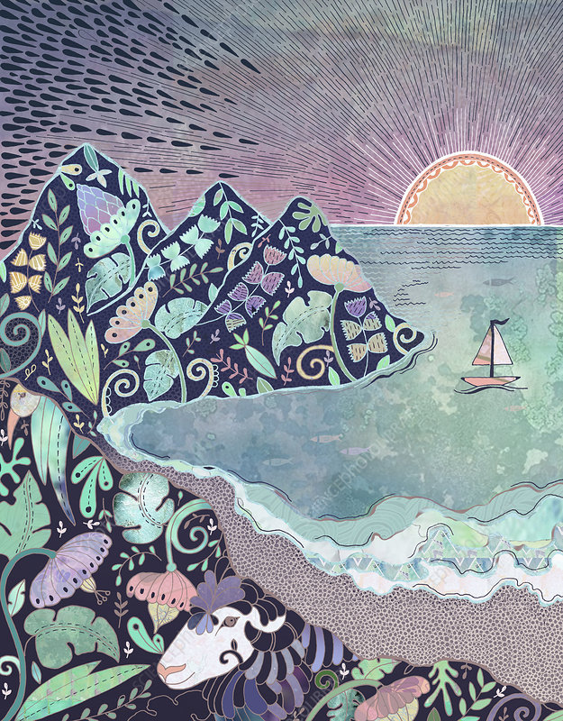 Sun setting on floral pattern cove, illustration