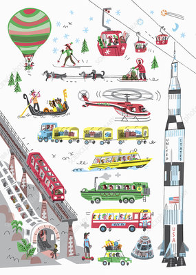 Different modes of transport, illustration