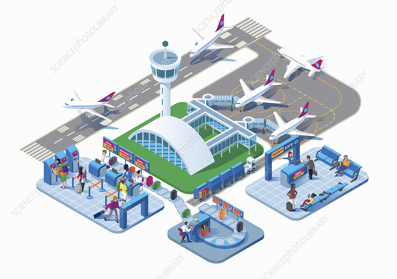Airport terminal, illustration