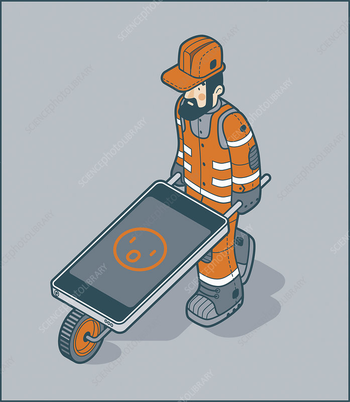 Smartphone wheelbarrow, illustration