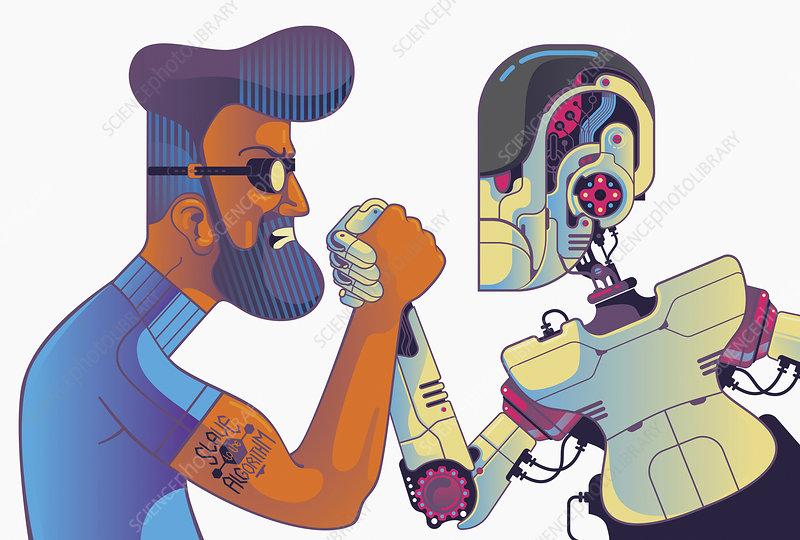 Man and robot arm wrestling, illustration