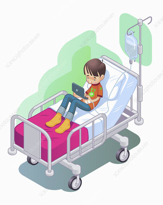 Boy on IV drip in hospital, illustration