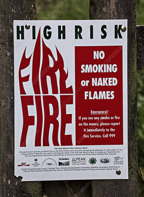 Fire risk warning sign