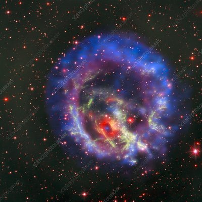 Supernova remnant and neutron star, composite image