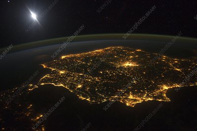 Spain at night, astronaut photograph