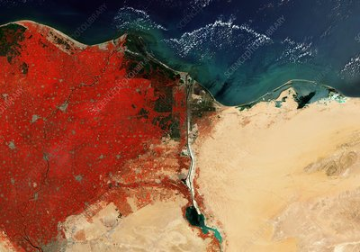 River Nile Delta and Suez Canal, Egypt, satellite image
