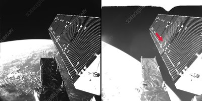 Impact damage to Sentinel-1A satellite solar array