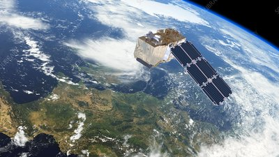 Sentinel-2 satellite in orbit, artwork