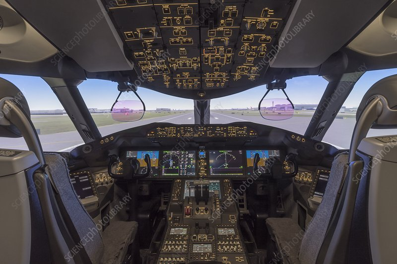 Cockpit of a Boeing 787 flight simulator - Stock Image