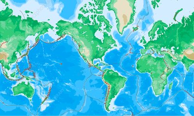 Earth's volcanoes and tectonic boundaries, illustration