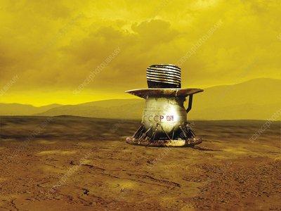 Venera probe on the surface of Venus, illustration