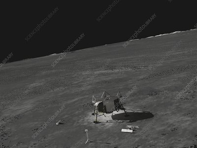 Apollo 11 Moon landing site and descent stage, illustration