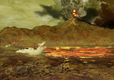 Volcanic eruption on Venus, illustration