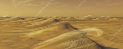 Sand dunes on Mars, illustration