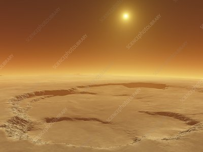 Olympus Mons caldera, Mars, illustration