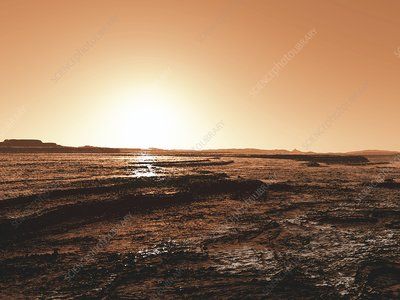 Polar sunrise on Mars, illustration