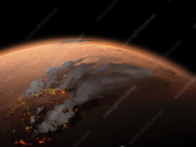 Formation of Olympus Mons, Mars, illustration