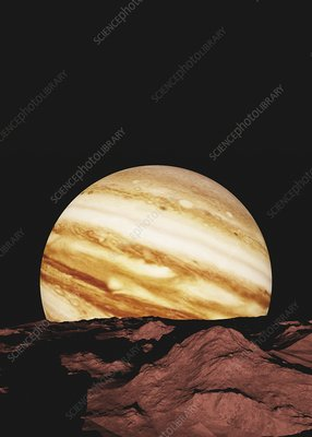 Jupiter from its moon Amalthea, illustration
