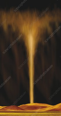 Geyser erupting on Io, illustration