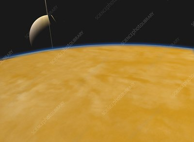 Saturn from Titan, illustration