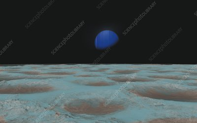 Neptune from Triton, illustration