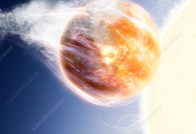 Expanding star destroying a planet, illustration