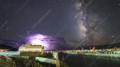 Thunderstorm and Milky Way over Yaqing Monastery