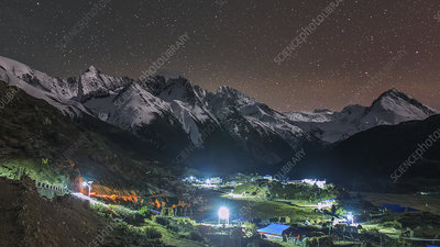 Starry night over Tibetan village