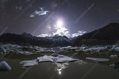 Moon over Laigu Glacier