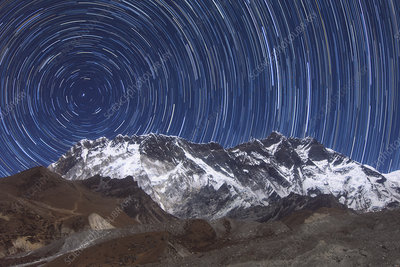 Star trails over Mount Lhotse