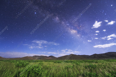 Milky Way over moonlit Tibetan field