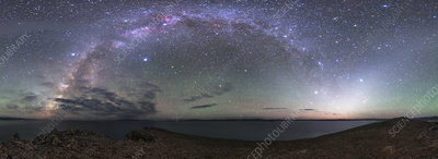 Milky Way and zodiacal light over Lake Namtso