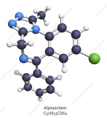 Alprazolam anti-anxiety drug, molecular model