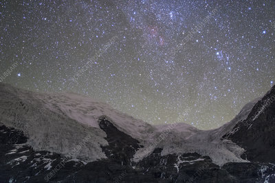 Stars above the Karuola Glacier at night