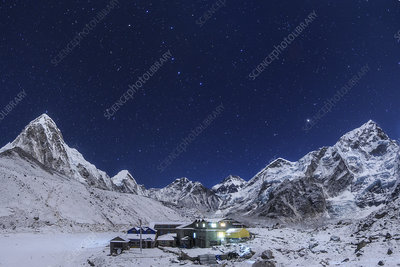 Night sky above Himalayas and Nepalese village