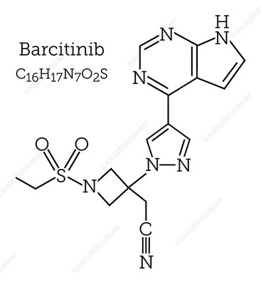 Molecular structure of baricitinib arthritis drug
