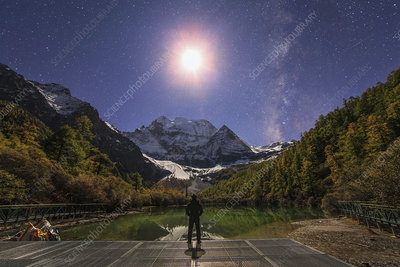 Moon and Milky Way above Mount Chenrezig