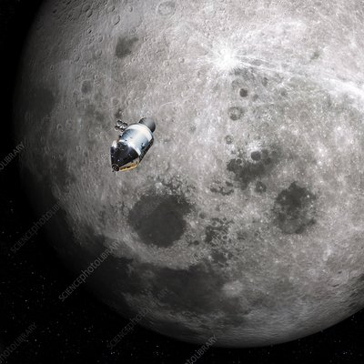 Apollo 8 spacecraft and Moon, illustration
