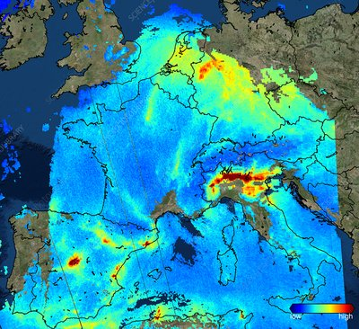 Nitrogen dioxide over Europe, Sentinel-5P satellite image