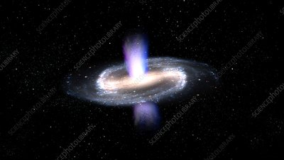Jets from a galactic supermassive black hole, illustration