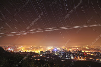 Night sky over Chonqing, China
