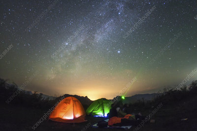 Milky Way over campers, China